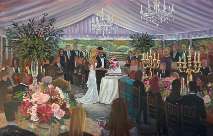Live Wedding Painting | Hawkesdene House, Andrews, NC