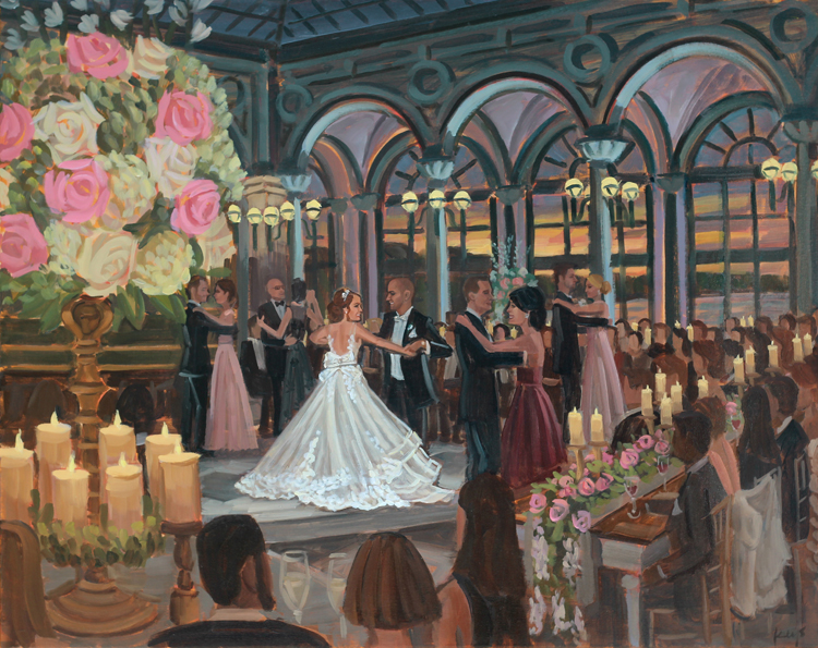 Live Wedding Painter, Ben Keys, captured Lara + Louis' waltz with their family during their reception at the Flagler Museum in Palm Beach, FL.