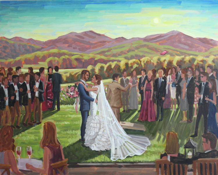 Live wedding painter, Ben Keys, captured Courtney + Ian's cocktail hour at Charlottesville's Pippin Hill overlooking the gorgeous mountain view.