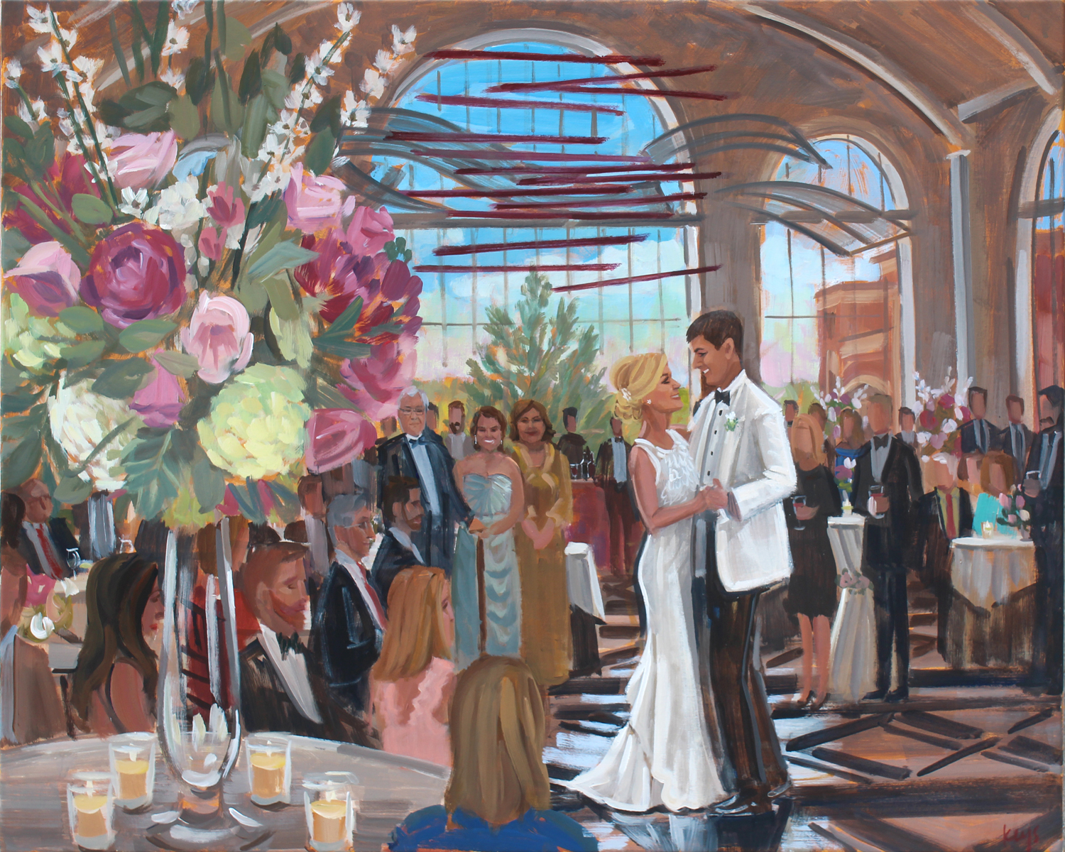 Live Wedding Painter, Ben Keys, captured Claire + Patrick's first dance at The Classic Center in Athens, Georgia.