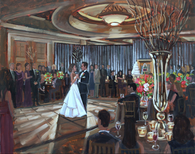 Live Wedding Painter, Ben Keys of Wed on Canvas captured Stephanie + Anthony's first dance during their reception at Atlanta's Intercontinental Hotel.