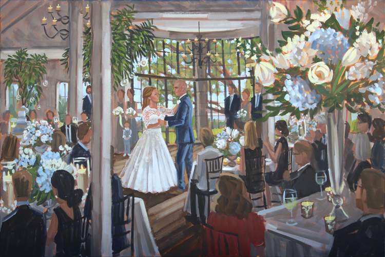Live wedding painter, Ben Keys, captured Sarah + Daniel's first dance at the beautiful River Course at Kiawah Island Golf Club.