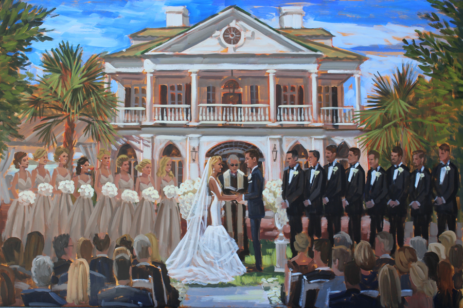 Live Wedding Painter, Ben Keys, captured Kim + Nick's southern wedding ceremony at Lowndes Grove Plantation in Charleston, SC.