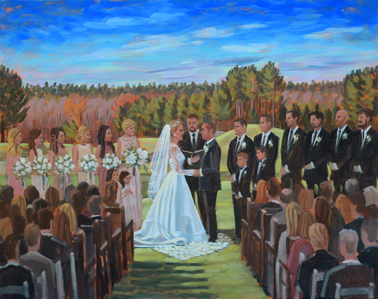 Rachel + Adam's wedding ceremony was captured with a live painting by artist Ben Keys of Wed on Canvas.