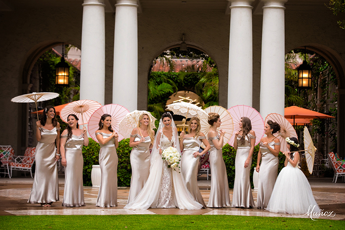 metallic-bridesmaid-dresses-with-parasols-the-breakers-palm-beach