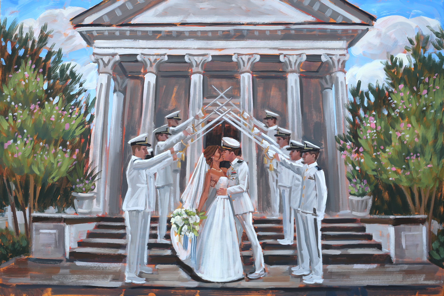 Live wedding painter, Ben Keys, captured Becca + Scott's iconic sword arch moment as they were exiting their ceremony held at Trinity United Methodist Church in downtown Charleston, SC.