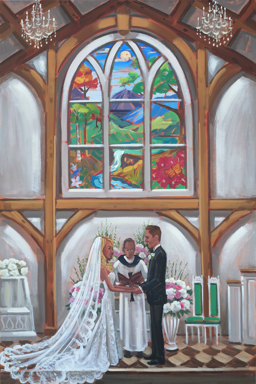 Alexandra + Jeff's vows captured on canvas by Live Wedding Painter, Ben Keys, of Wed on Canvas.