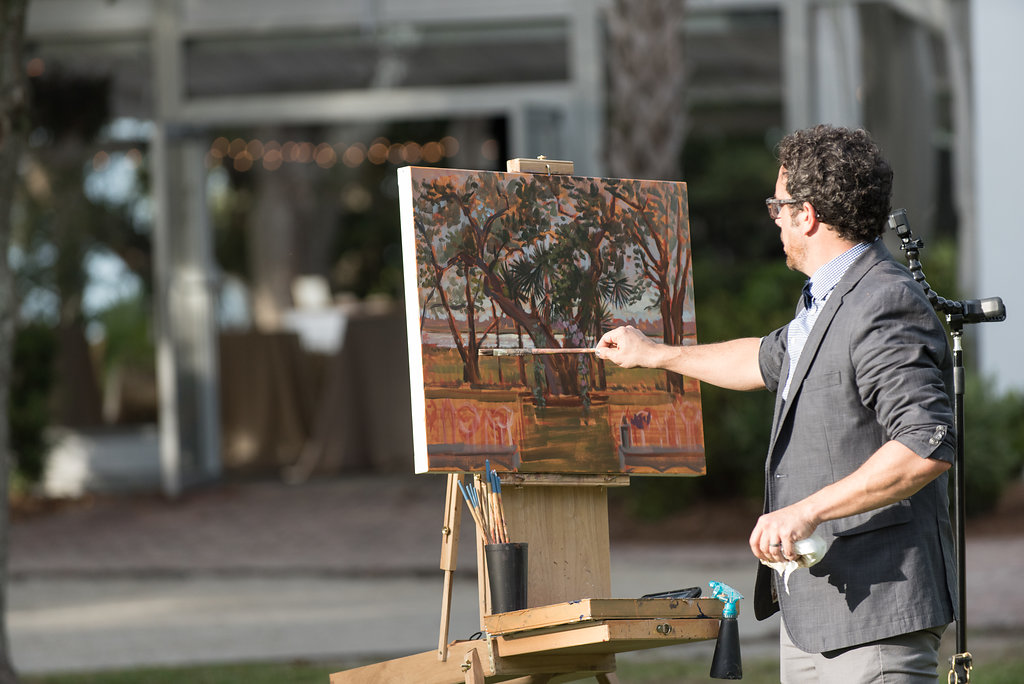 Live Wedding Painter, Ben Keys, capturing L+A's ceremony at downtown Charleston's Lowndes Grove Plantation.