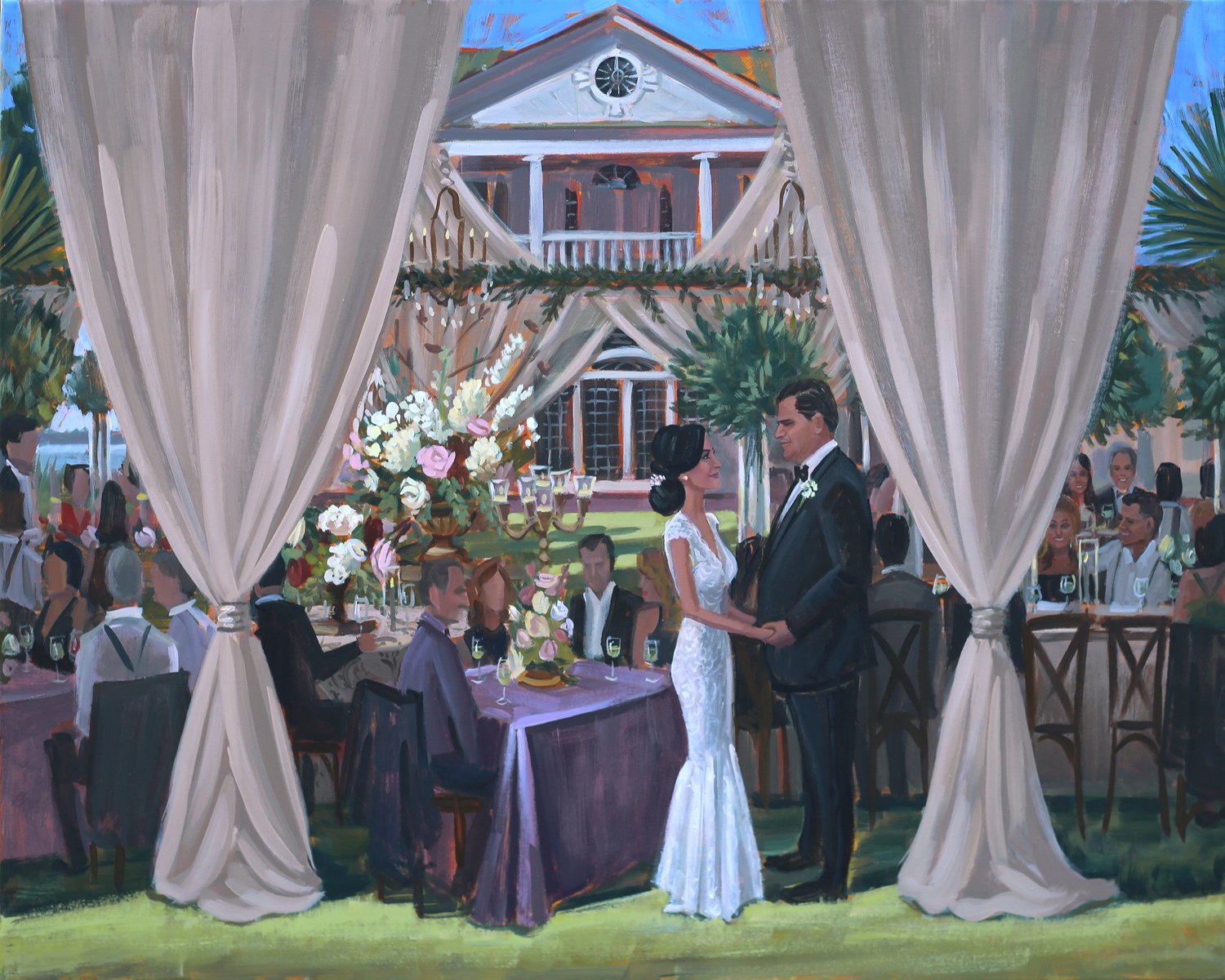 Christina + Gabe celebrated their wedding at the iconic Lowndes Grove Plantation in downtown Charleston, SC. Live Wedding Painter, Ben Keys, captured a sweet moment on canvas of the newlyweds standing outside of their gorgeous al fresco tent there on the lawn.