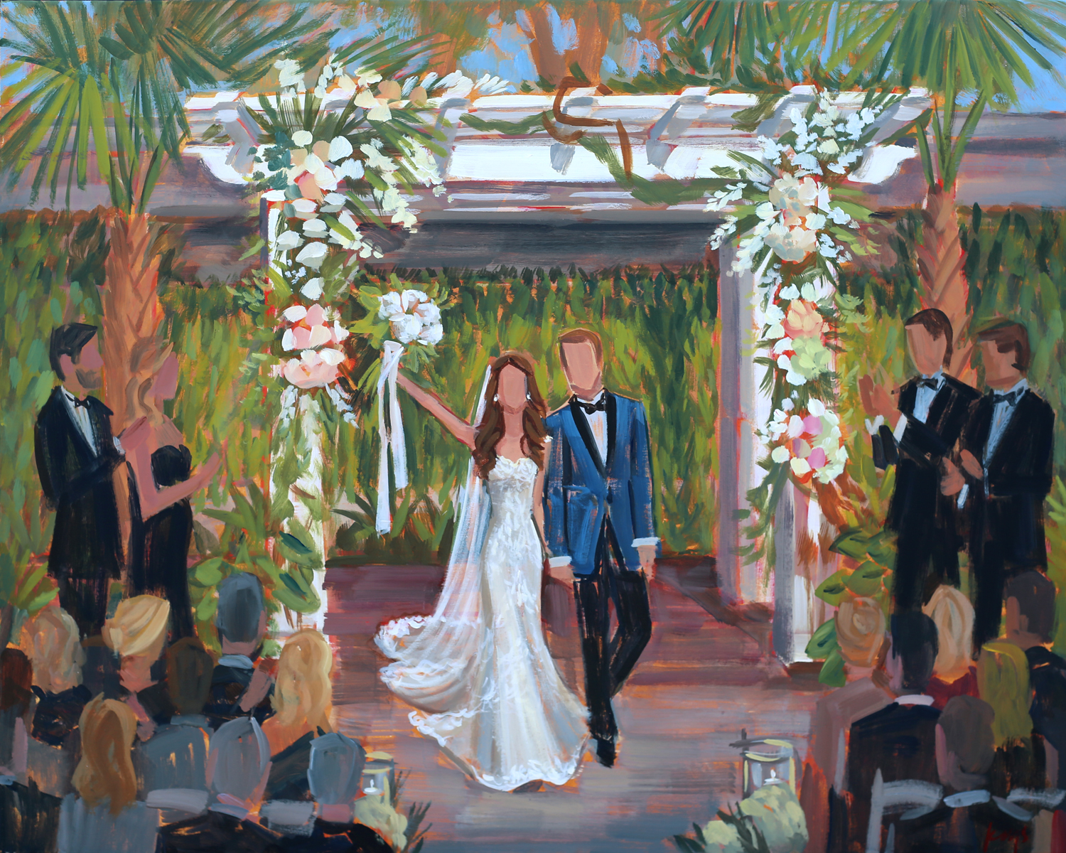 Live Wedding Painter, Ben Keys, captured Dana + Alex's ceremony at downtown Charleston's unique Cannon Green.