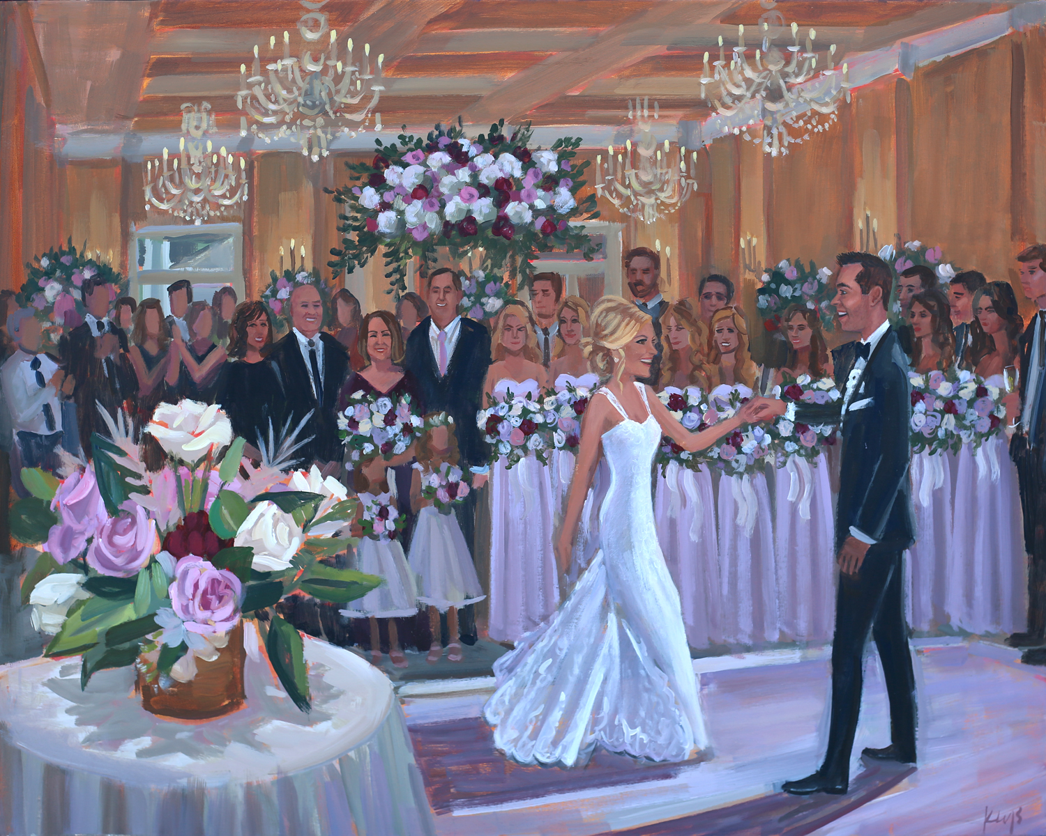 Live Wedding Painter, Ben Keys, captured Laura + Chris' first dance surrounded by their family and friends at Wilmington, NC's Cape Fear Country Club.