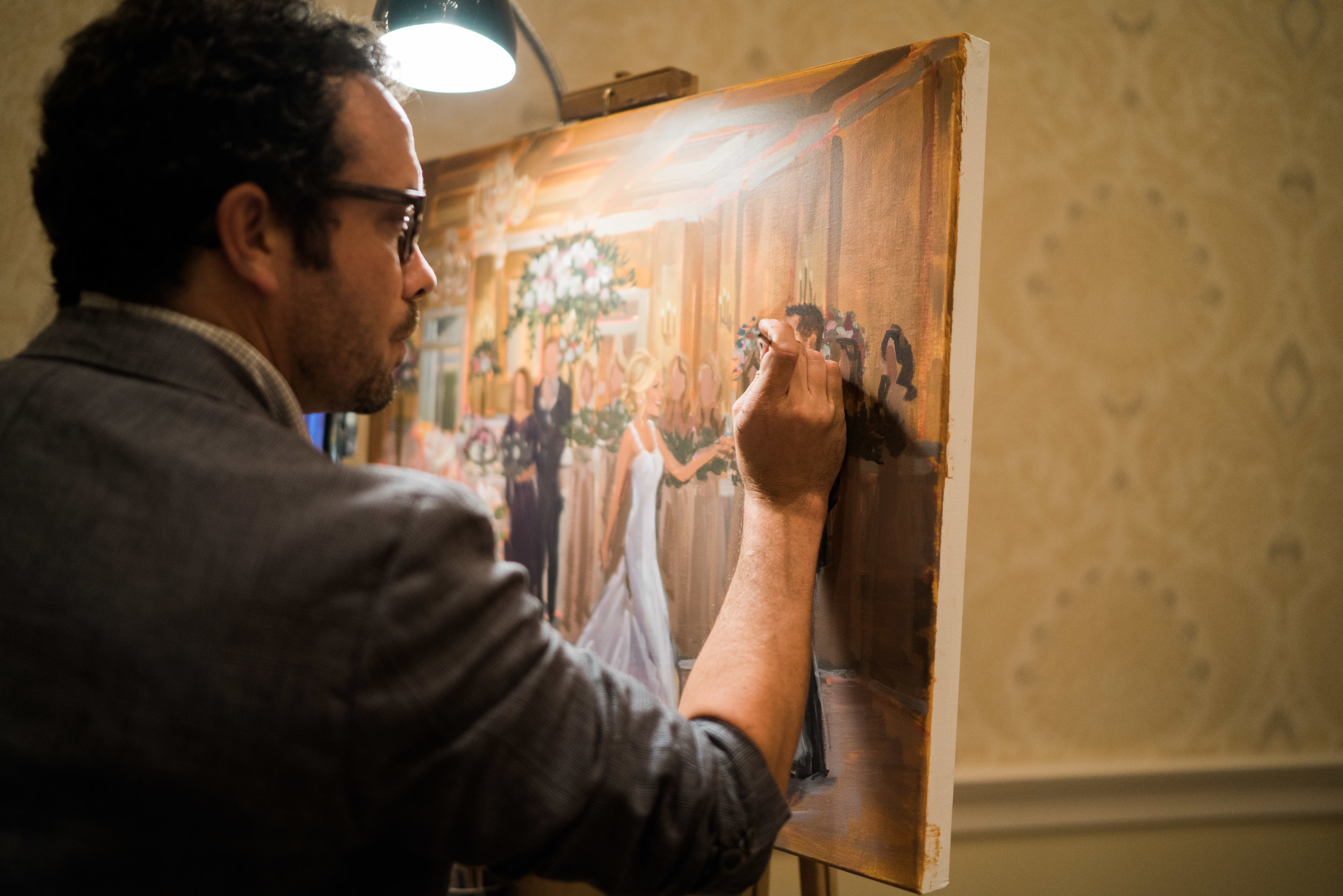 Live Wedding Painter, Ben Keys, captured Laura + Chris' first dance at their reception held at Cape Fear Country Club in Wilmington, NC.