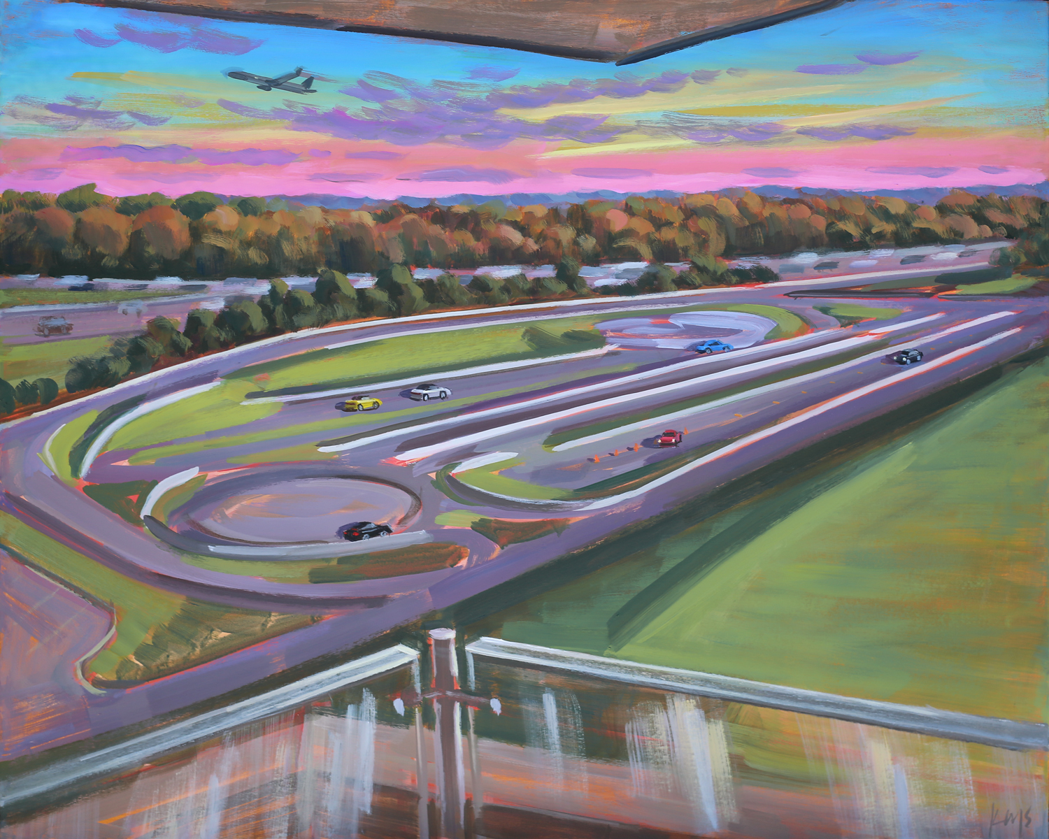 Live Event Painter, Ben Keys, captured the balcony view of Overdrive Lounge overlooking the Porsche Experience Center during the Grand Opening event of Atlanta's newest Hotel, Solis Two Porsche Drive.