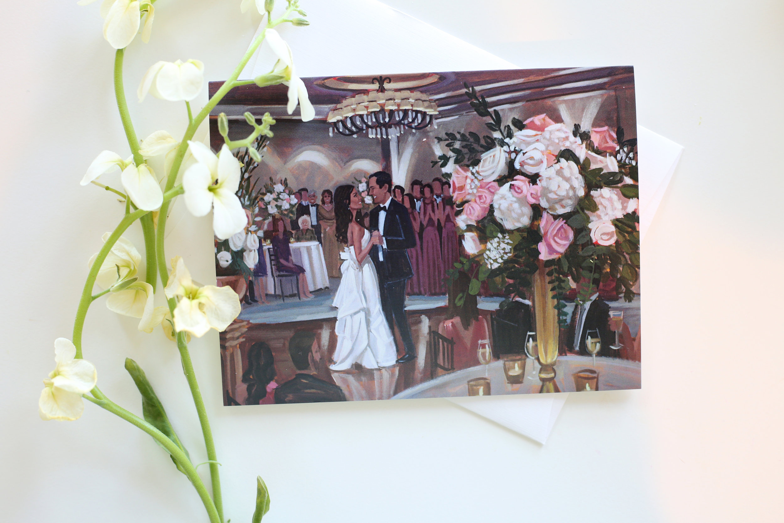 Nettie + Mitch ordered a set of our custom stationery featuring their live wedding painting! | Photo by Jennifer Keys