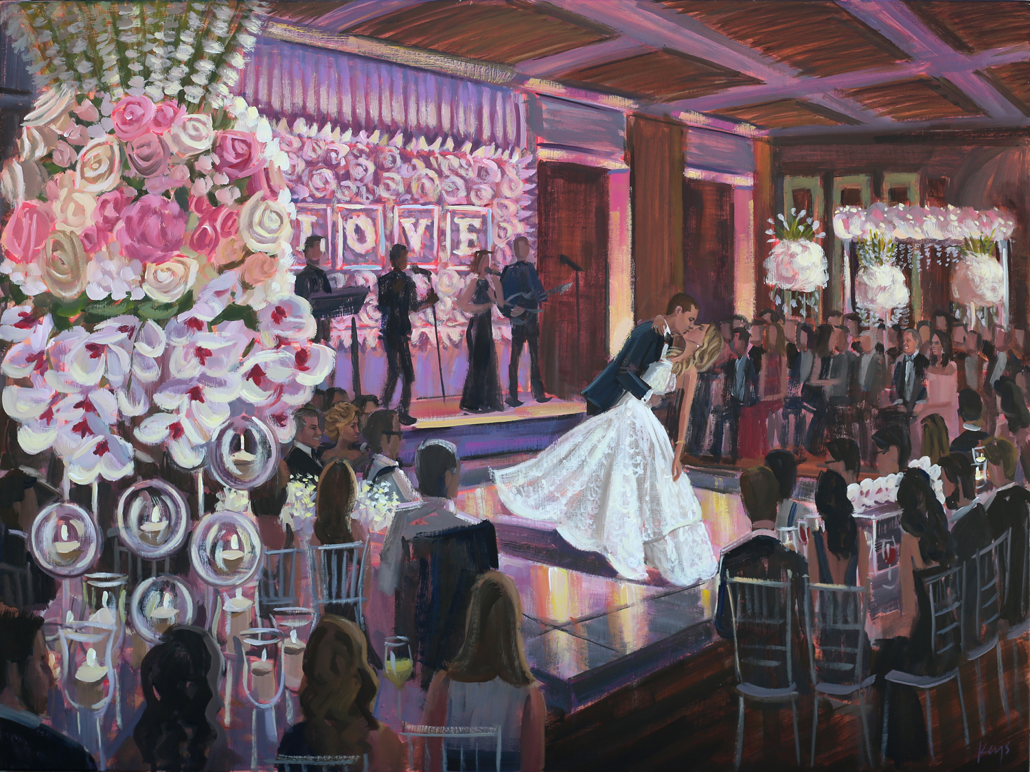 Live Wedding Painter, Ben Keys, captured Lexi + Maxx's reception at Miami's Temple Beth Am.