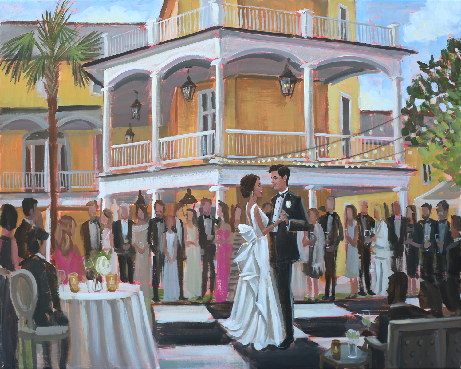 Live Wedding Painter, Ben Keys, captured Lauren + Dante's first dance with downtown Charleston's iconic William Aiken House as the backdrop.