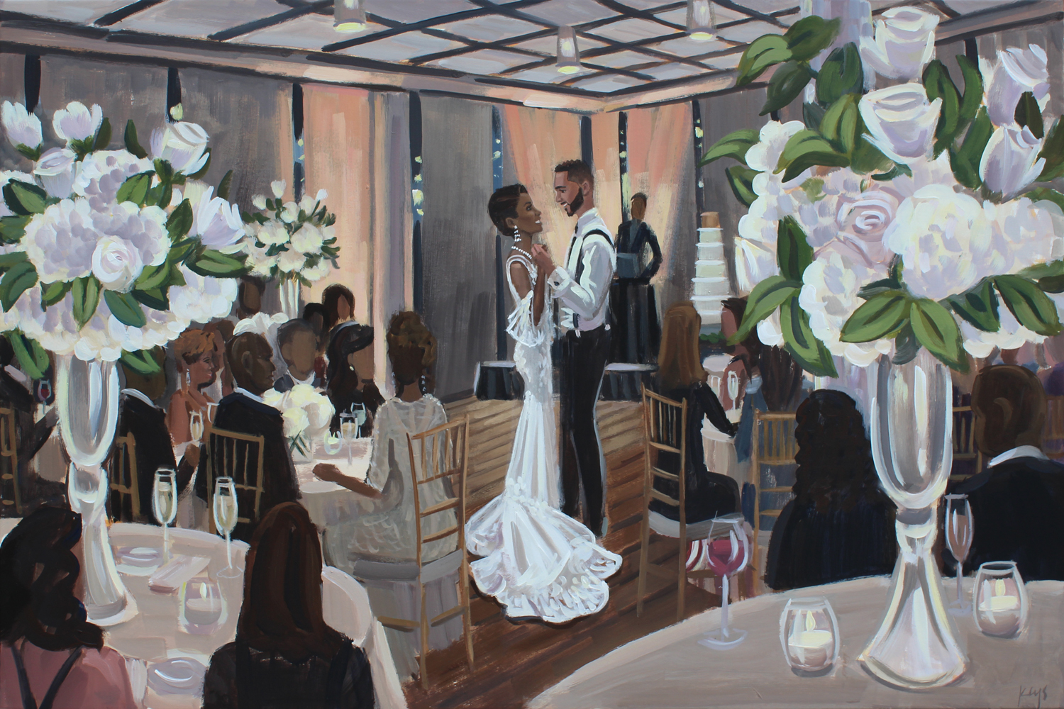 Live Wedding Painter, Ben Keys, captured Raven + Justin's romantic first dance as Grammy Nominated singer, Kenny Lattimore, performed live!