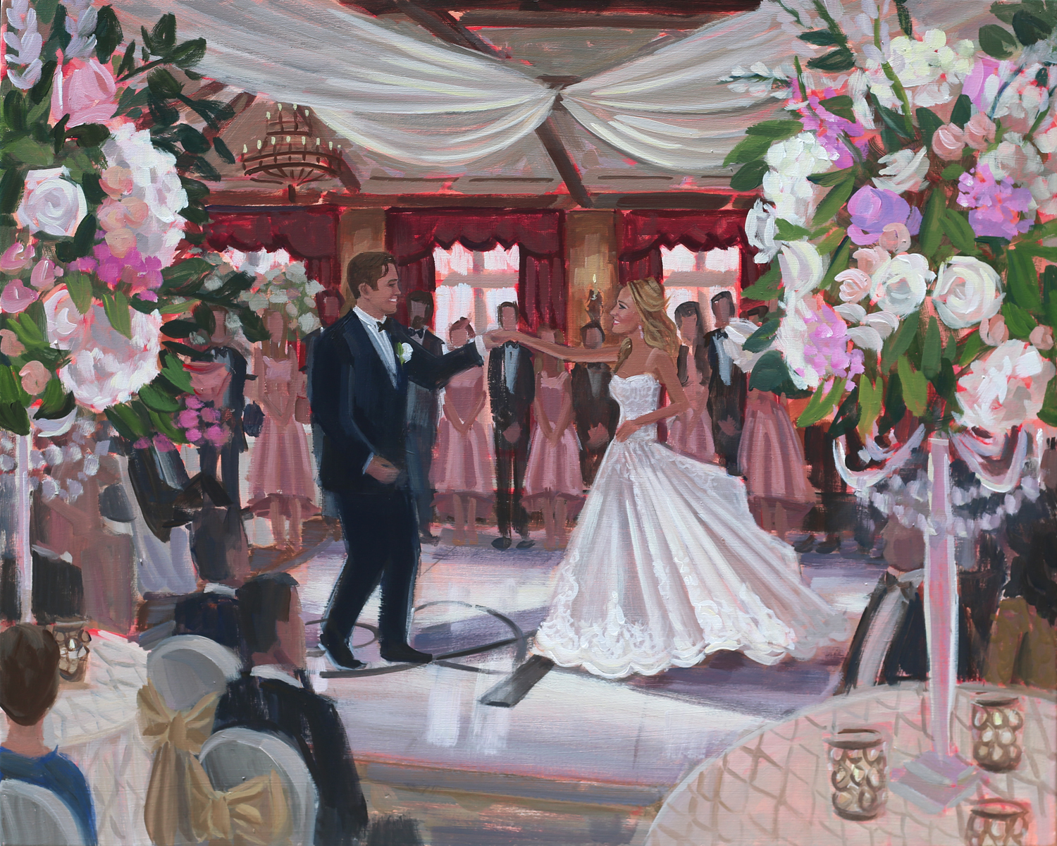 Ponte Vedra's TPC Sawgrass was a spectacular backdrop for Nolyn + Dylan's wedding reception and Ben so enjoyed capturing all the magic with a live painting!