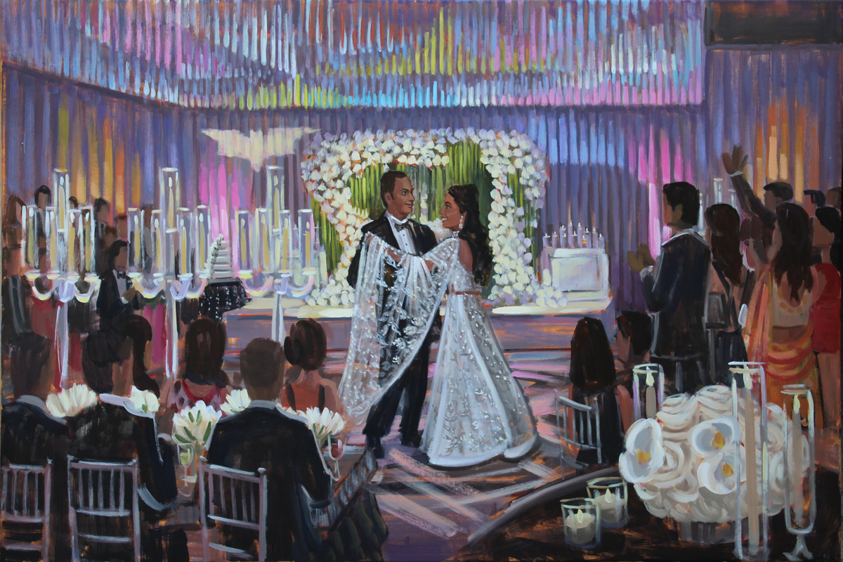 Live Wedding Painter, Ben Keys, captured A+N's magical first dance at their reception held at the luxurious Landsdowne Resort in Leesburg, VA.
