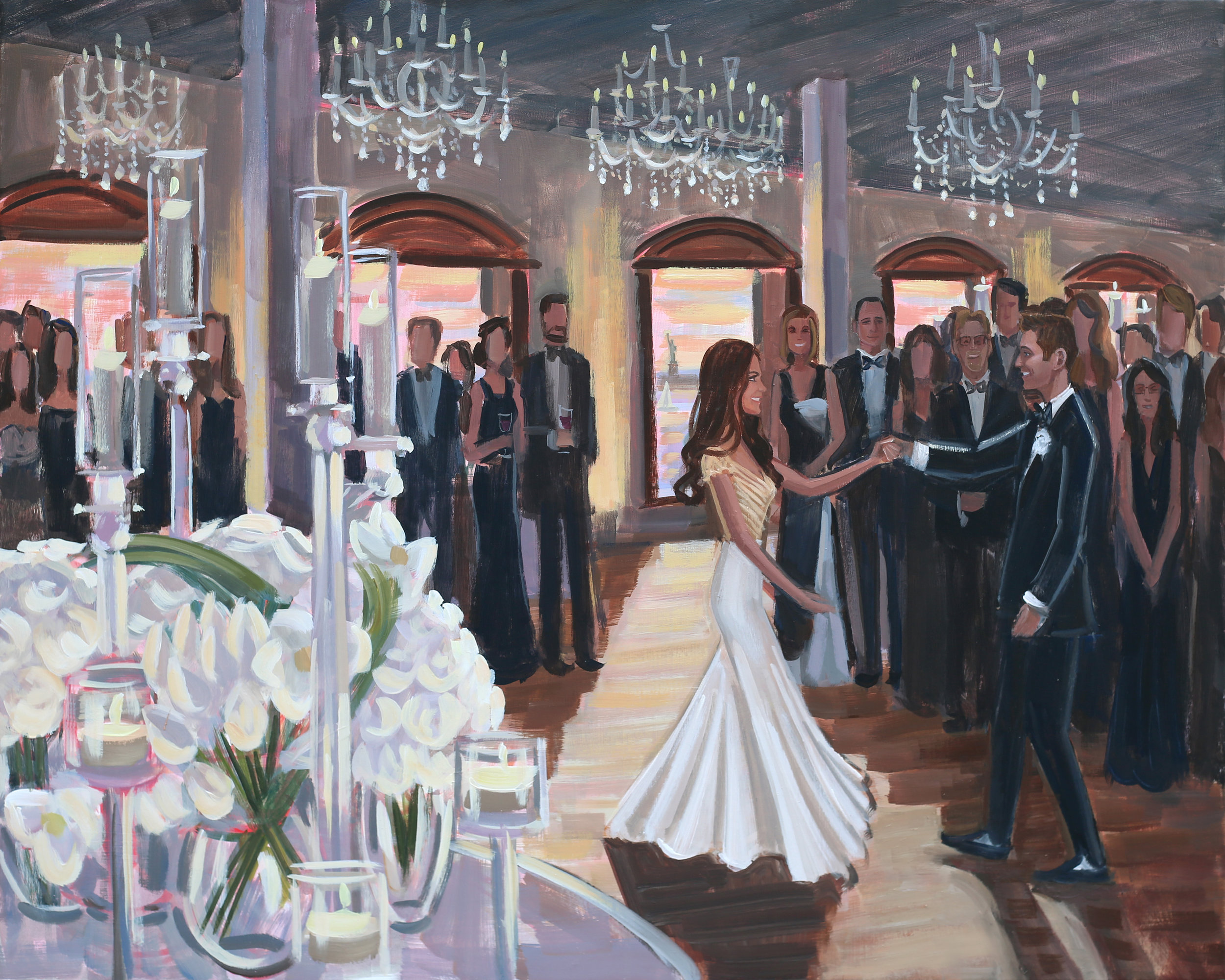 Live Wedding Painter, Ben Keys, captured Samara + Drew's romantic first dance at Brooklyn's Liberty Warehouse.