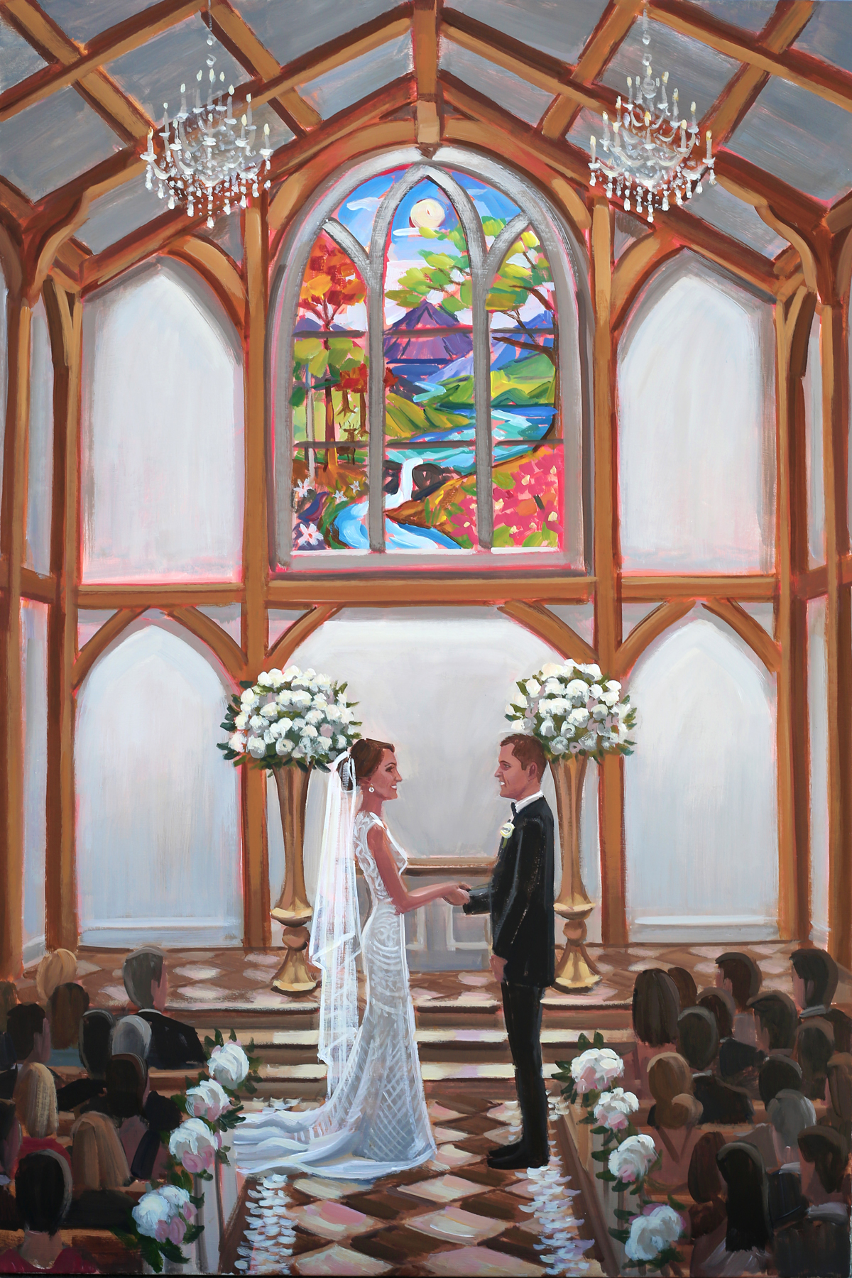 The new Chapel at The Greenbrier is what ceremony dreams are made of … and Ben so loved capturing Stephanie and Mark's sweet moment as they said, I DO, with a live wedding painting!