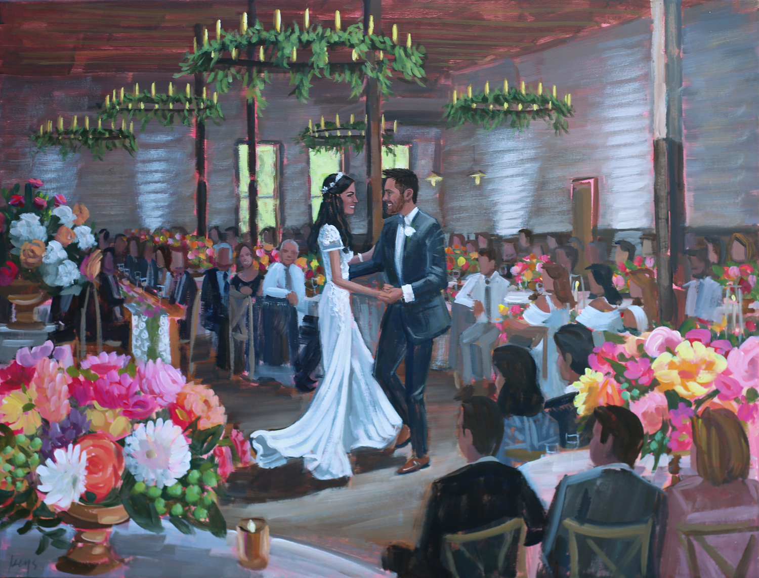 Live Wedding Painter, Ben Keys of Wed on Canvas, captures Houston couples first dance at the unique Brake and Clutch Warehouse.