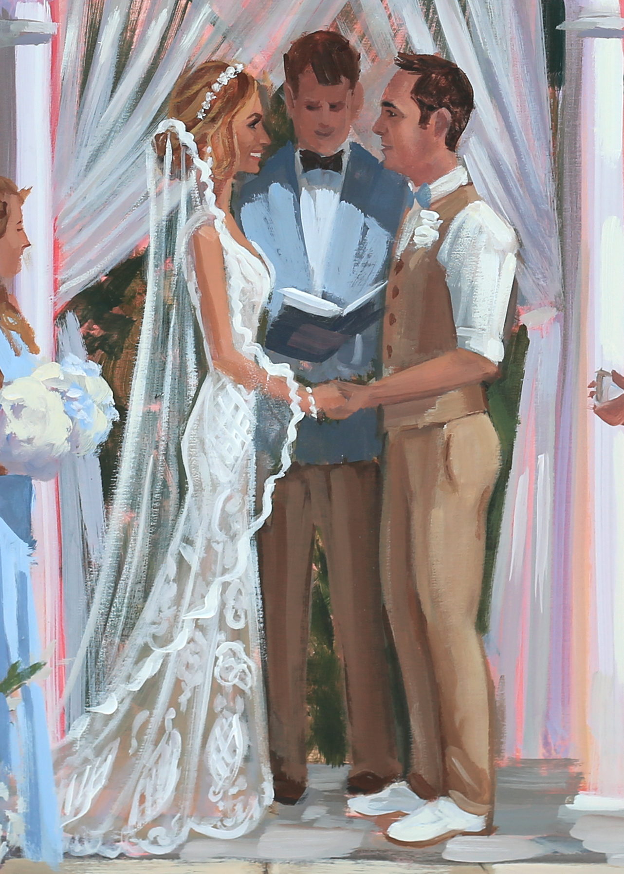 Close Up of the details from Megan + Joey's live wedding painting created at their ceremony at downtown Charleston's William Aiken House.