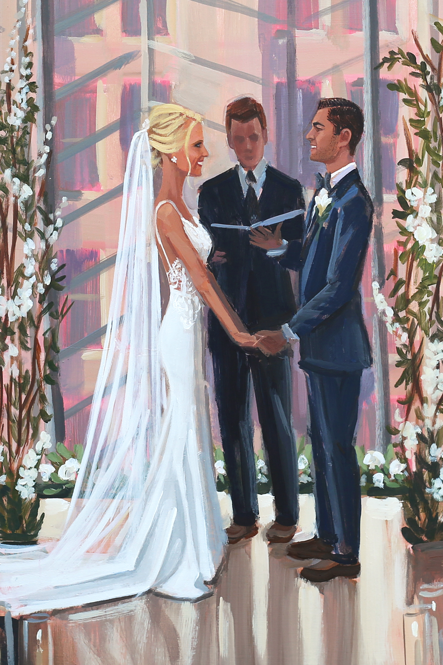 Close up of Erika + Matt's live wedding painting that was created during their ceremony at Philadelphia's Kimmel Center.