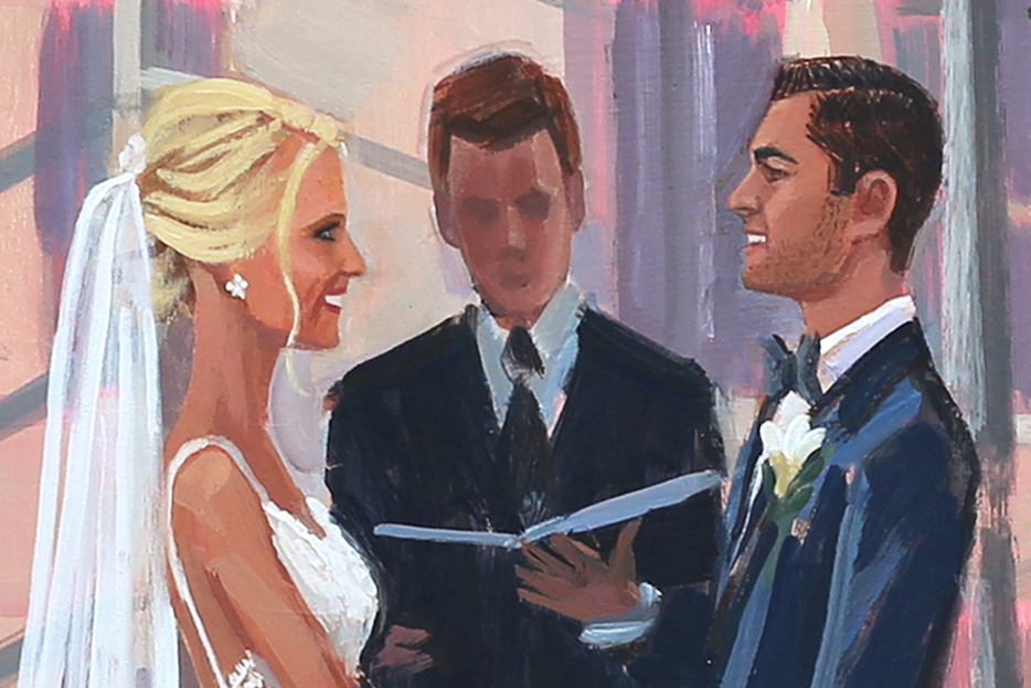 Details of Facial Features of Erika + Matt's live wedding painting created by artist Ben Keys during their Philadelphia wedding ceremony at The Kimmel Center.