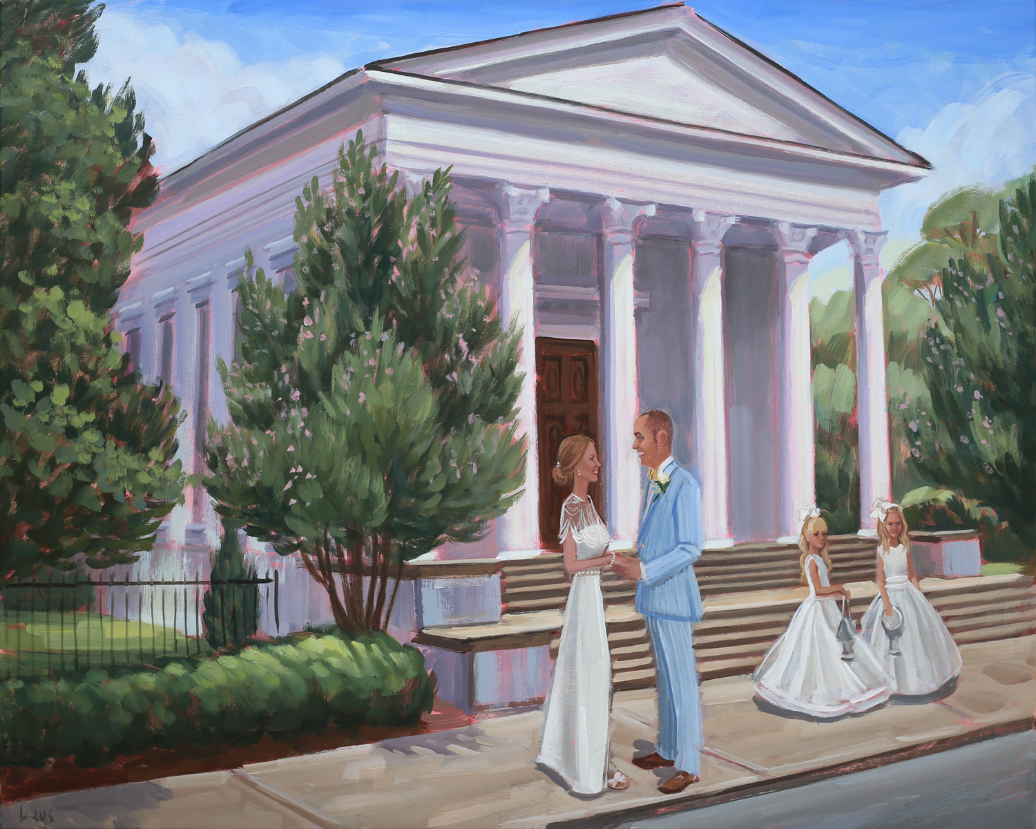 Live wedding painter, Ben Keys, captured A+J sharing an intimate moment outside Charleston's Trinity United Methodist Church with their two daughter's.