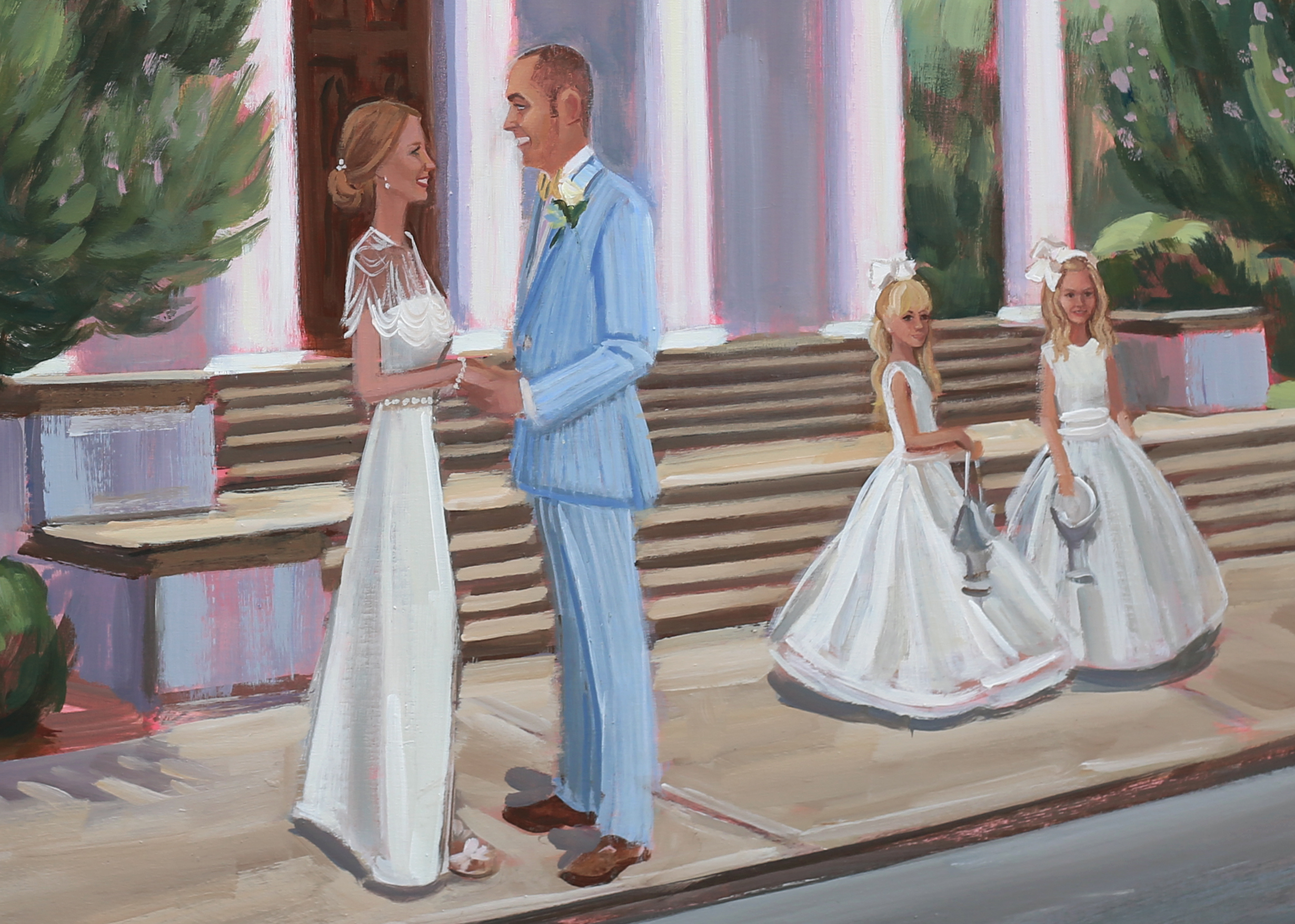 Anne + Jason captured on canvas live with their two daughter's by Charleston's live wedding painter, Ben Keys, of Wed on Canvas.