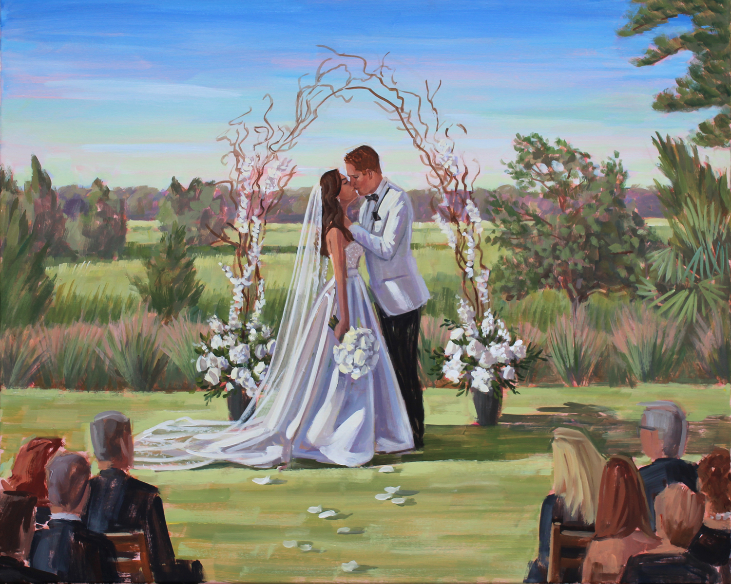 Charleston artist, Ben Keys, captured Melaina + Evan's wedding day with a live painting of their ceremony held at Daniel Island Club.