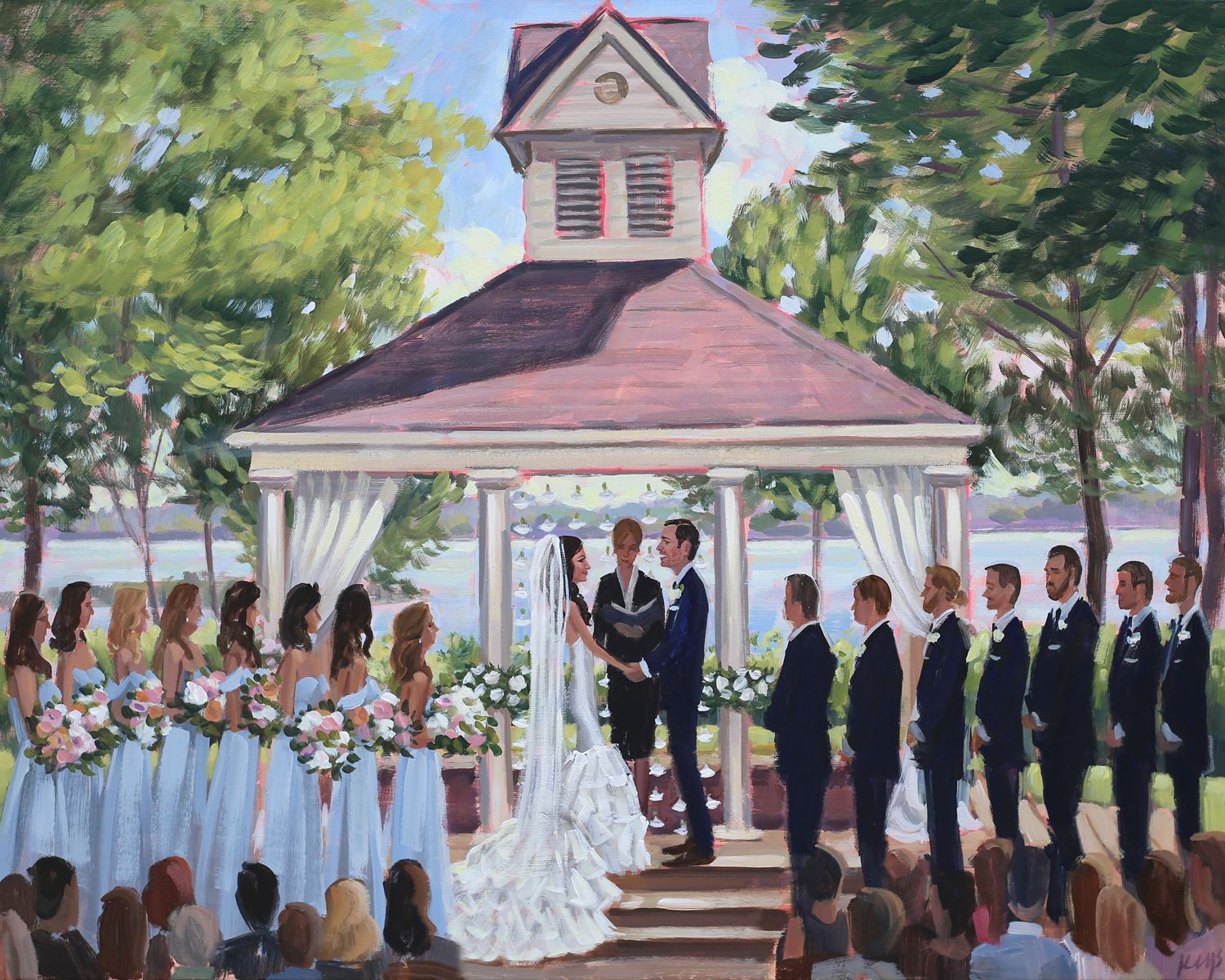 Live Wedding Painter, Ben Keys, captured Courtney + Preston's wedding day at the picturesque Old North State Club located outside of Charlotte, NC