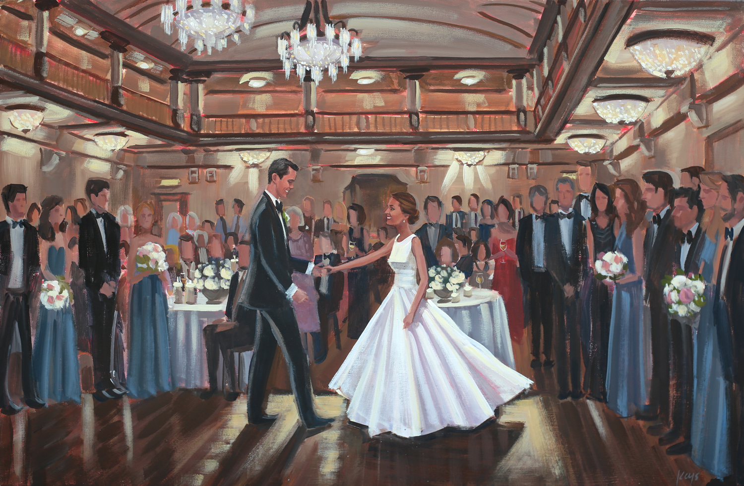 Live wedding painter, Ben Keys, captured Heather + Jake's dreamy first dance at historic Richmond's John Marshall Ballrooms.