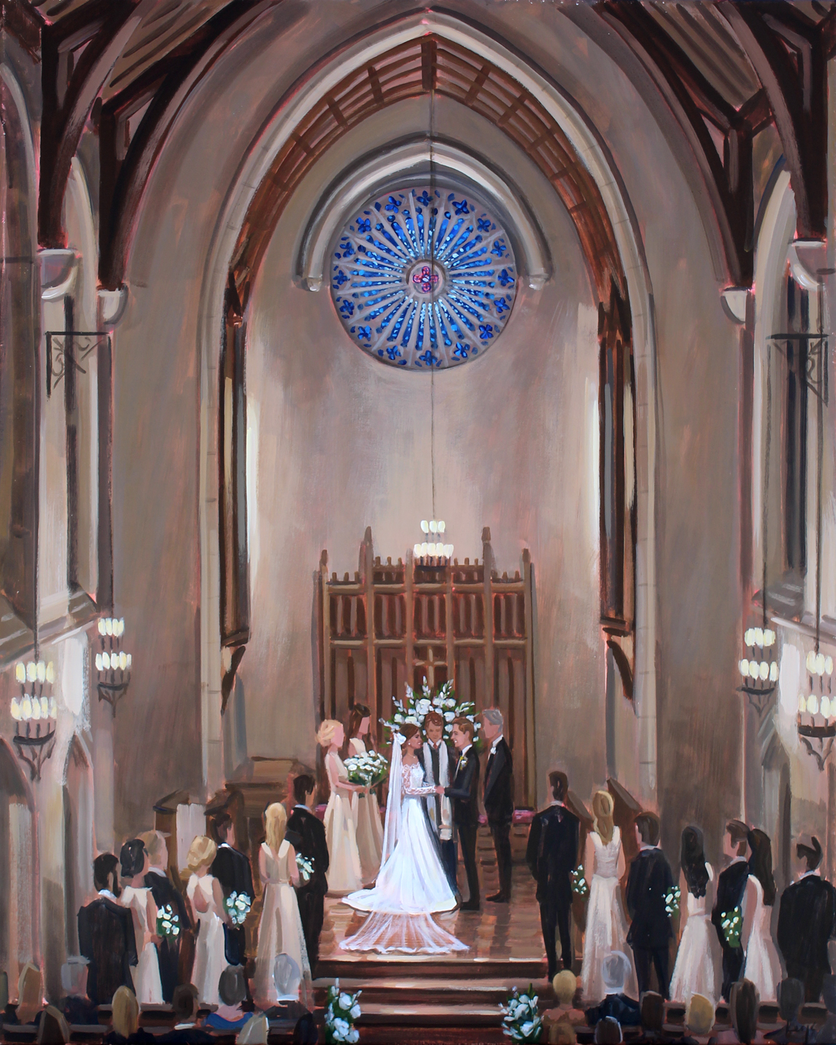 Alison + Rally commissioned live wedding painter, Ben Keys, of Wed on Canvas to capture their ceremony held at downtown Wilmington's First Presbyterian Church.