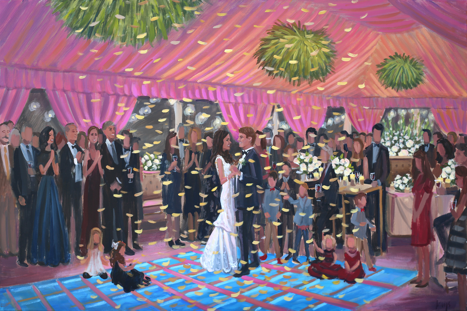 Ben Keys, Live Wedding Painter, captured Ashlyn + Kevin's New Year's Eve wedding at the beautiful Figure 8 Island Yacht Club located in Wilmington, NC.