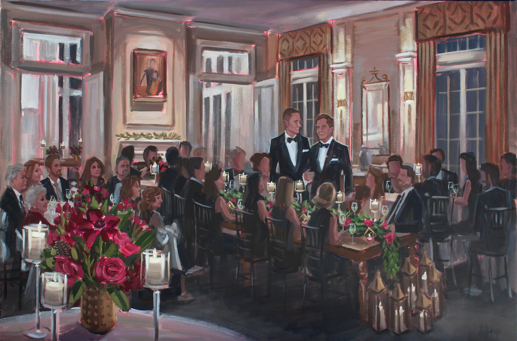 Live Engagement Painting by Ben Keys at Charlotte's historic Duke Mansion.