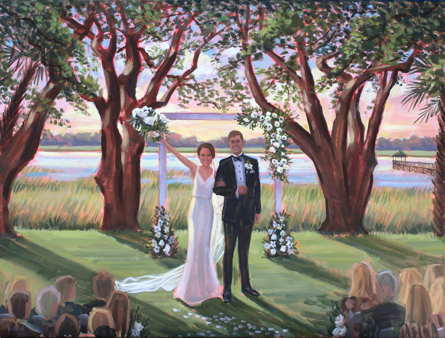 Live Wedding Painting | Lowndes Grove Plantation, Charleston, SC