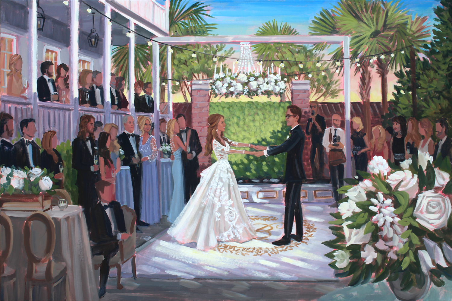 Live Wedding Painting | The Gadsden House, Charleston, SC