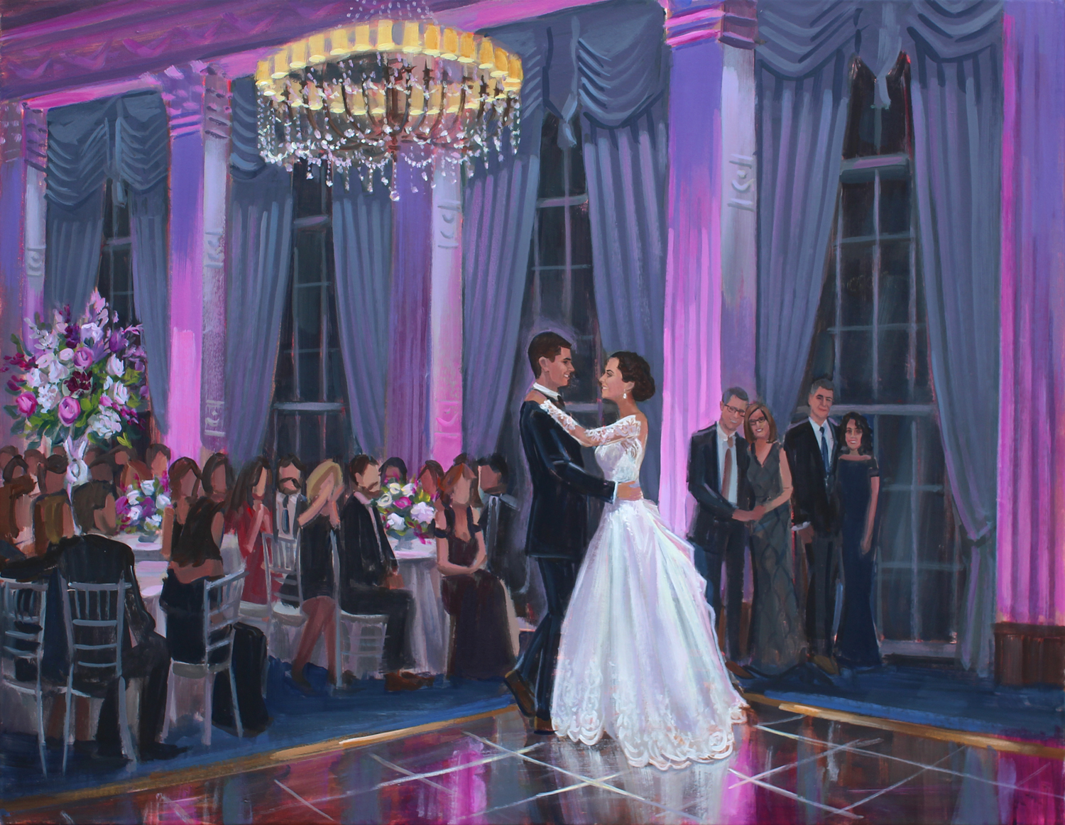 Live Wedding Painter, Ben Keys, captured Abbey + Andrews romantic first dance during their reception at the Mariott Grand in St. Louis, MO.