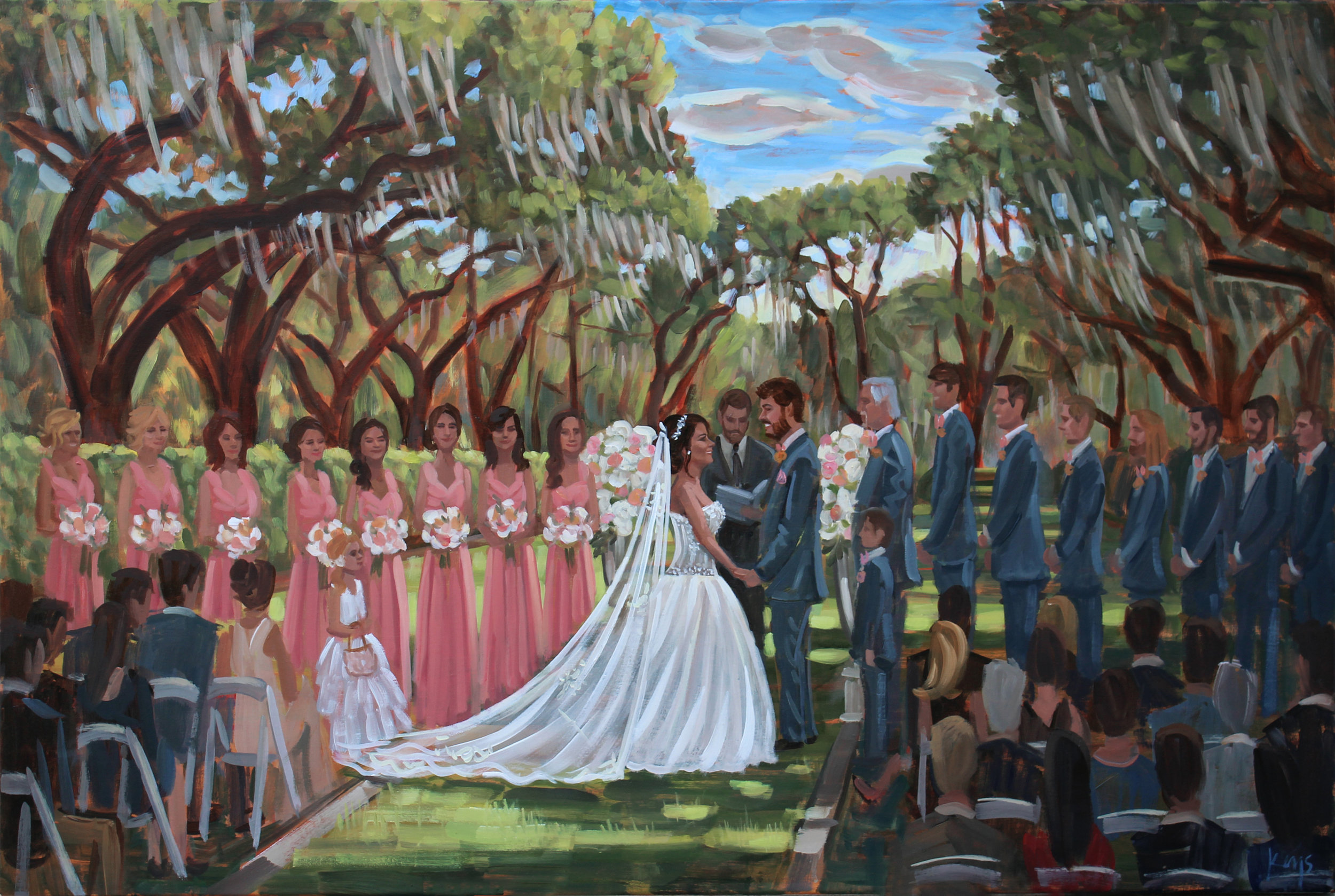 Live Wedding Painter, Ben Keys, captured Amber + Justin's gorgeous ceremony under the Avenue of Oaks at The Ford Plantation!
