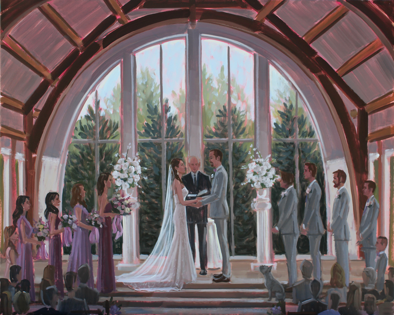 Live Wedding Painter, Ben Keys, of Wed on Canvas captured Krista + Matt's wedding ceremony in front of the gorgeous arched windows of Ashton Gardens in Houston, Texas.