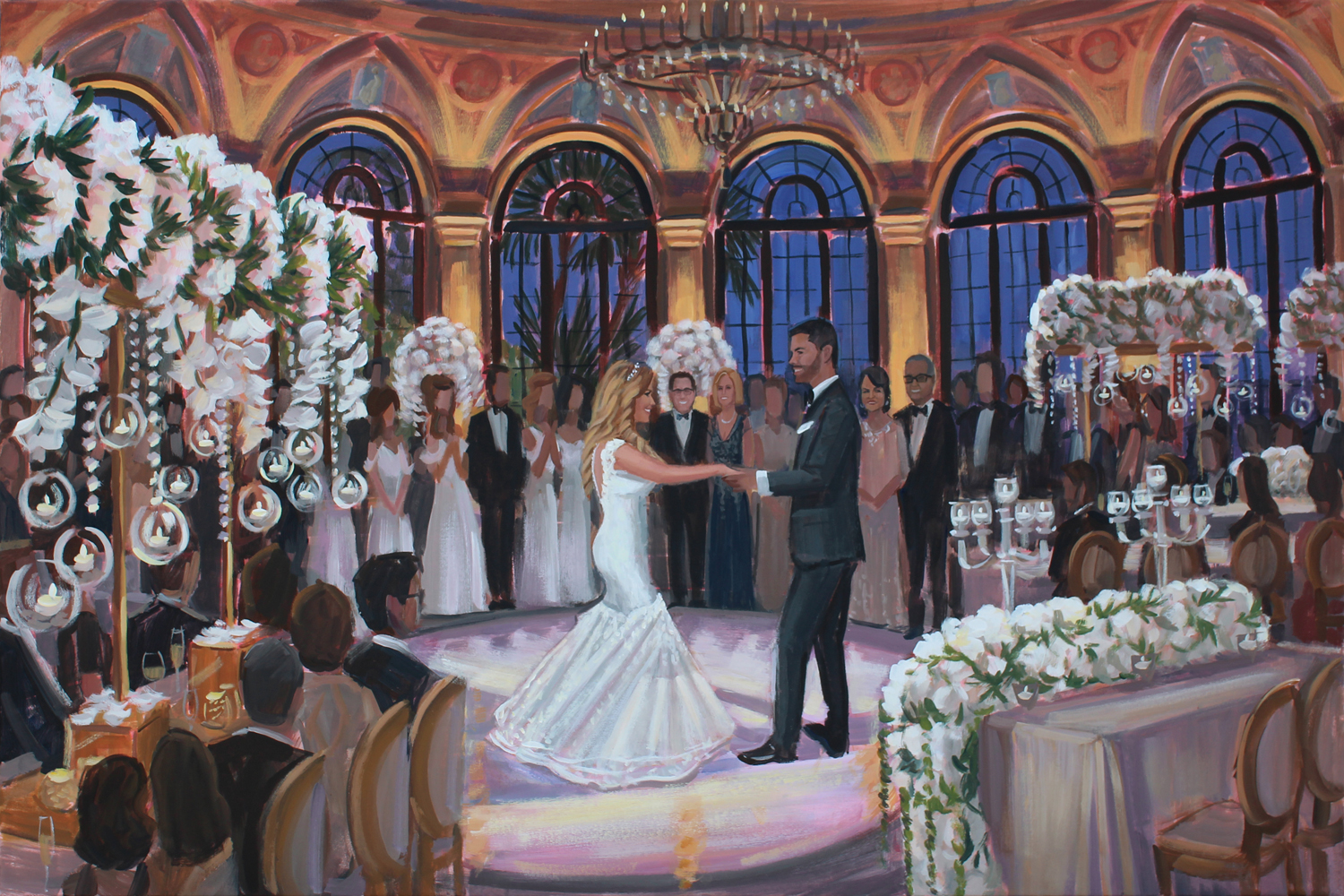 Live Wedding Painter, Ben Keys, captured Molly + Dalton's stunning first dance at The Breakers in Palm Beach, FL.