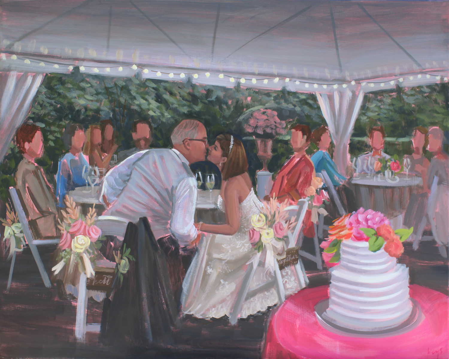 Wedding Painter, Ben Keys, created this painting for Sandra + Jim's First Anniversary merging several of their wedding photos together.