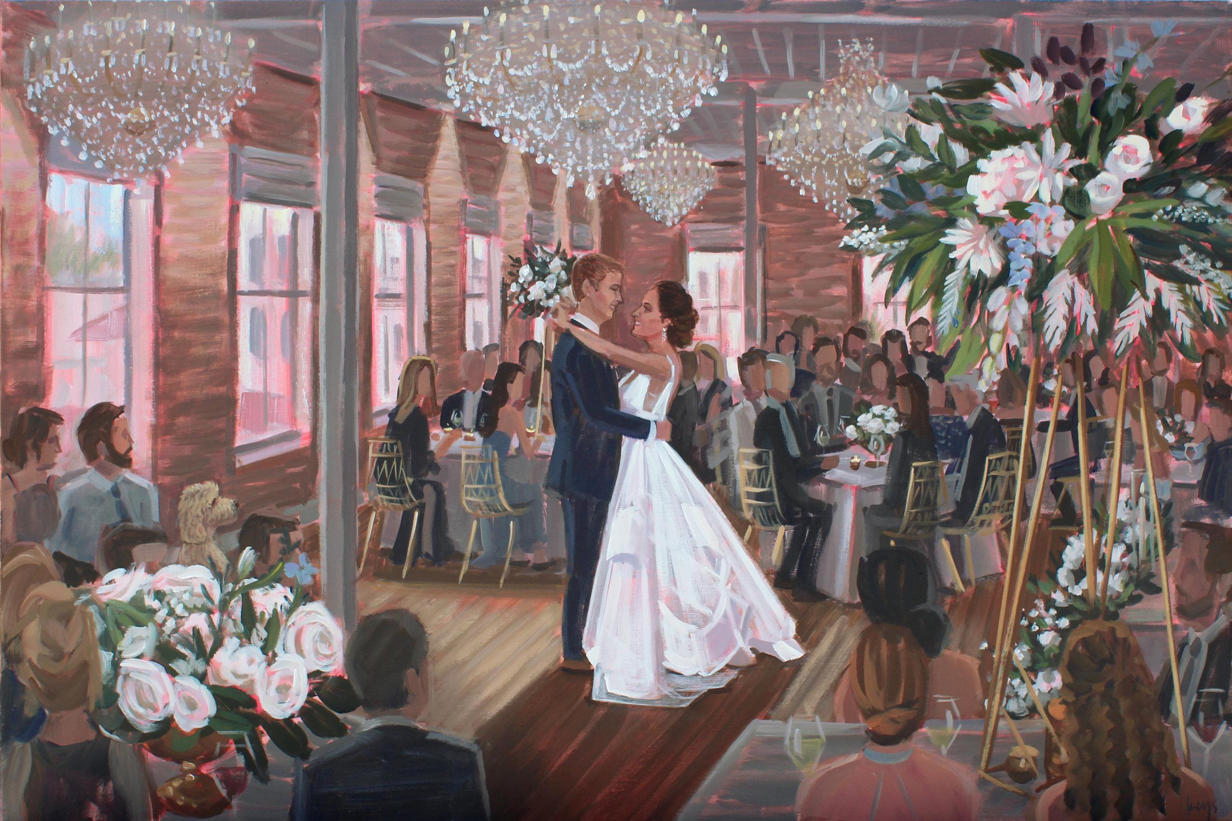 Charleston Live Wedding Painter, Ben Keys, captured Brooke + Tim's first dance at downtown Charleston's newest venue, Merchant's Hall.