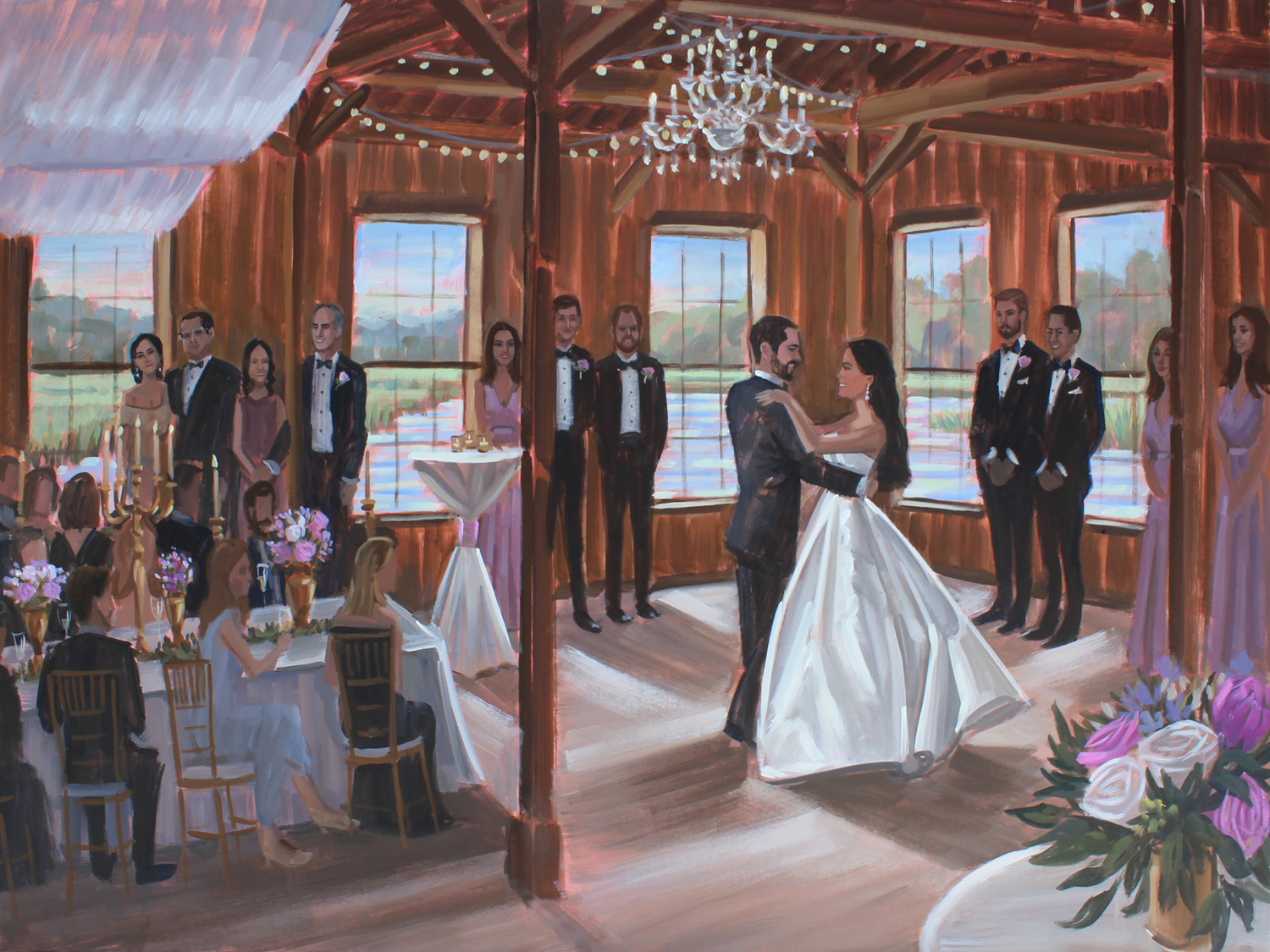 Carolina + Jacob commissioned live wedding painter, Ben Keys, to capture their first dance during their reception held at Charleston's Boone Hall Plantation.