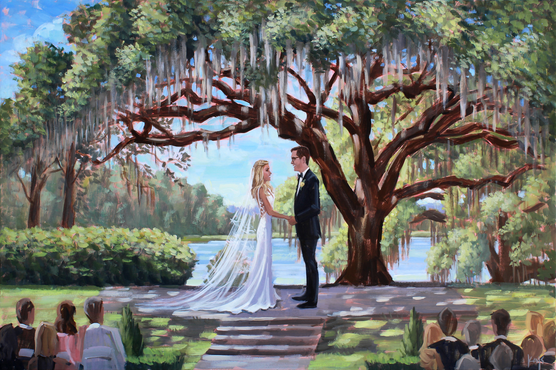 Live Wedding Painting | Middleton Place, Charleston, SC
