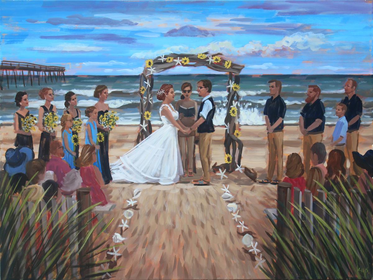 LIve Wedding Painting | Koru Village Beach Klub | Outer Banks, North Carolina