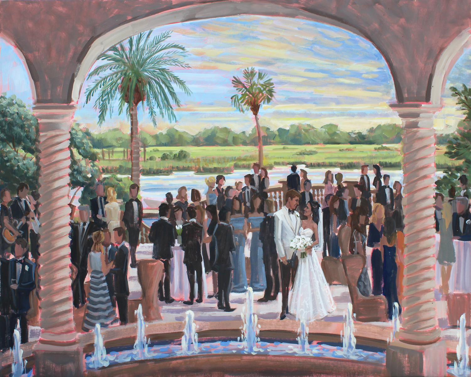 Live Wedding Painter, Ben Keys, captured Ali + Joe's gorgeous waterfront cocktail hour held at The Cloister on Sea Island, GA.