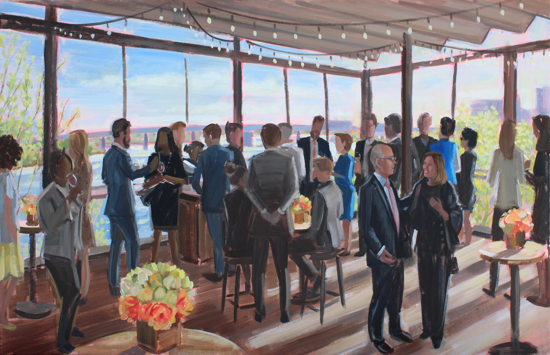 Live Event Painter, Ben Keys, captured a career celebration party at Washington DC's trendy District Winery.